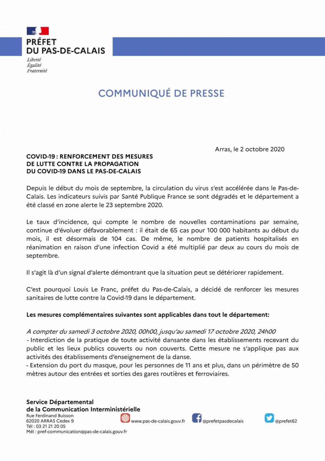 Communique de presse du 2 octobre 2020 renforcement des mesures sanitaires 1