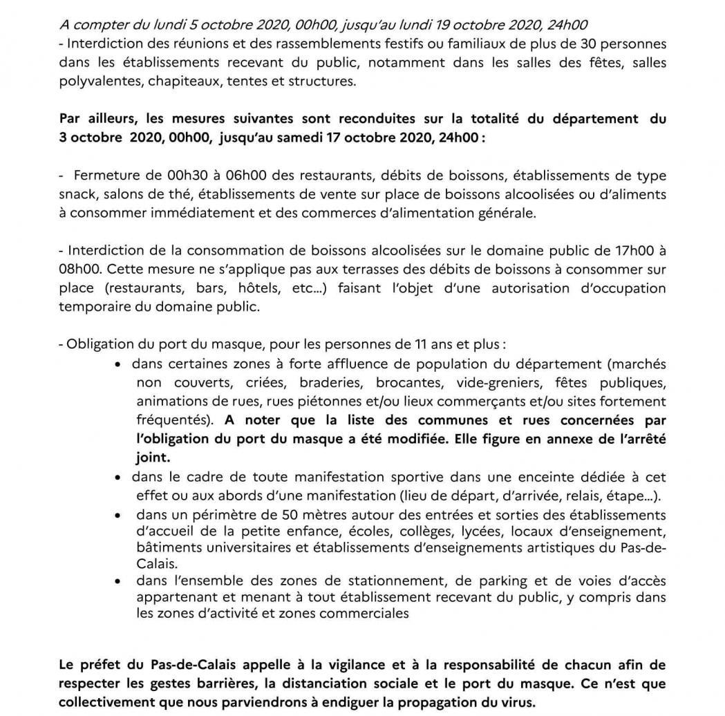 Communique de presse du 2 octobre 2020 renforcement des mesures sanitaires 2