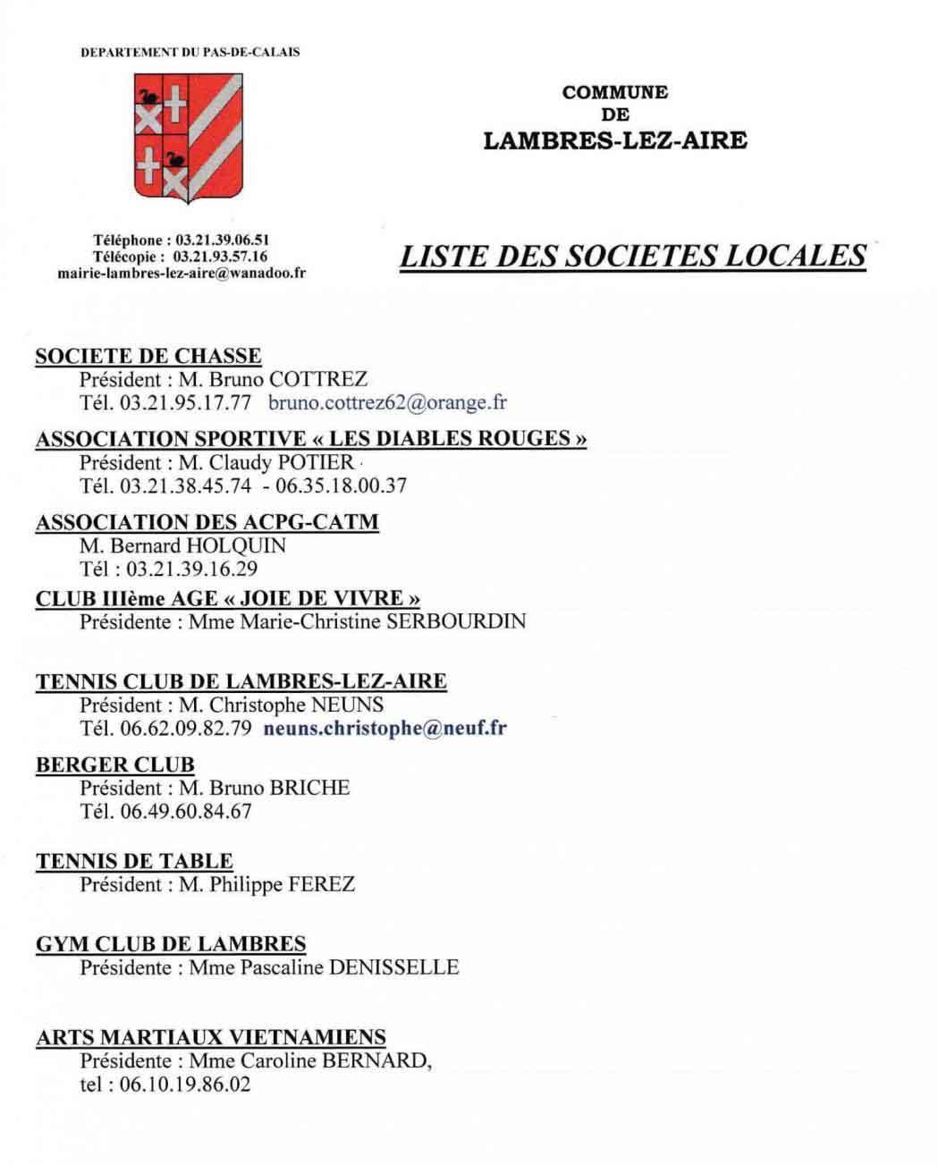 Liste associations municipales lambres 1